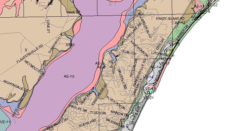 Pawleys Island Flood Zones - Flood line map